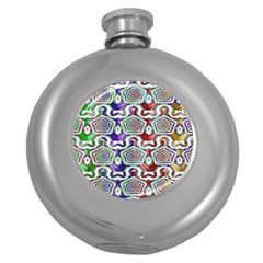 Digital Patterned Ornament Computer Graphic Round Hip Flask (5 Oz)