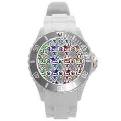 Digital Patterned Ornament Computer Graphic Round Plastic Sport Watch (l)