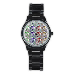 Digital Patterned Ornament Computer Graphic Stainless Steel Round Watch