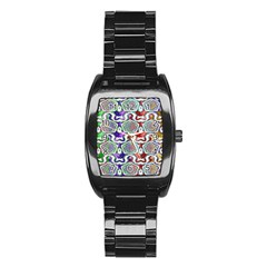 Digital Patterned Ornament Computer Graphic Stainless Steel Barrel Watch