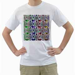 Digital Patterned Ornament Computer Graphic Men s T-Shirt (White)