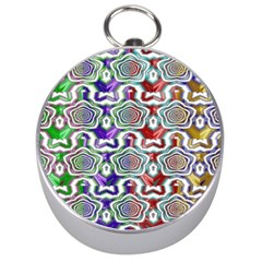 Digital Patterned Ornament Computer Graphic Silver Compasses