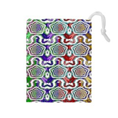 Digital Patterned Ornament Computer Graphic Drawstring Pouches (large)