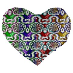 Digital Patterned Ornament Computer Graphic Large 19  Premium Flano Heart Shape Cushions
