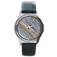Fractal Waves Background Wallpaper Pattern Round Metal Watch