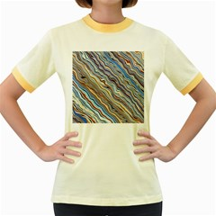 Fractal Waves Background Wallpaper Pattern Women s Fitted Ringer T-Shirts