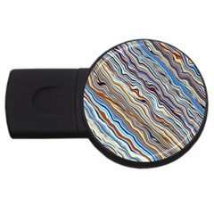 Fractal Waves Background Wallpaper Pattern Usb Flash Drive Round (2 Gb)