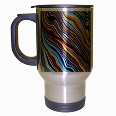 Fractal Waves Background Wallpaper Pattern Travel Mug (Silver Gray)