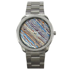 Fractal Waves Background Wallpaper Pattern Sport Metal Watch