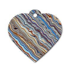 Fractal Waves Background Wallpaper Pattern Dog Tag Heart (two Sides)