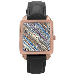 Fractal Waves Background Wallpaper Pattern Rose Gold Leather Watch