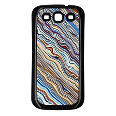 Fractal Waves Background Wallpaper Pattern Samsung Galaxy S3 Back Case (Black)
