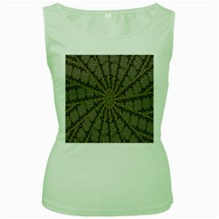 Abstract Image Showing Moiré Pattern Women s Green Tank Top