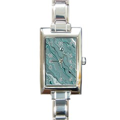 Fractal Waves Background Wallpaper Rectangle Italian Charm Watch