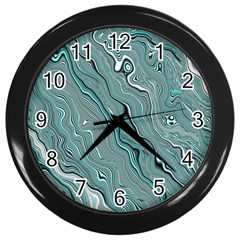 Fractal Waves Background Wallpaper Wall Clocks (Black)