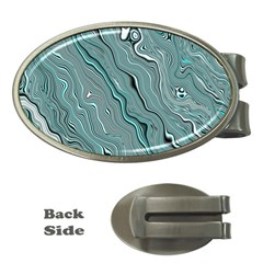 Fractal Waves Background Wallpaper Money Clips (oval)