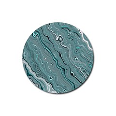 Fractal Waves Background Wallpaper Rubber Coaster (Round)
