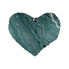 Fractal Waves Background Wallpaper Standard 16  Premium Flano Heart Shape Cushions