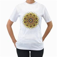 Abstract Geometric Seamless Ol Ckaleidoscope Pattern Women s T-Shirt (White) (Two Sided)