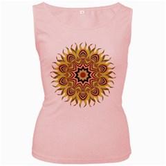 Abstract Geometric Seamless Ol Ckaleidoscope Pattern Women s Pink Tank Top