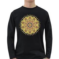 Abstract Geometric Seamless Ol Ckaleidoscope Pattern Long Sleeve Dark T Shirts