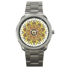 Abstract Geometric Seamless Ol Ckaleidoscope Pattern Sport Metal Watch
