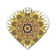 Abstract Geometric Seamless Ol Ckaleidoscope Pattern Dog Tag Heart (two Sides)