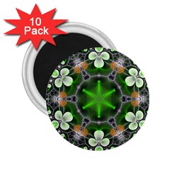 Green Flower In Kaleidoscope 2 25  Magnets (10 Pack)
