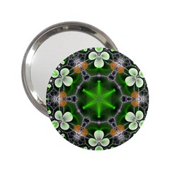 Green Flower In Kaleidoscope 2.25  Handbag Mirrors