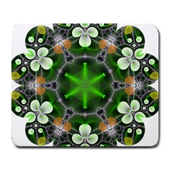 Green Flower In Kaleidoscope Large Mousepads