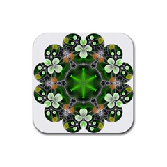 Green Flower In Kaleidoscope Rubber Coaster (square)