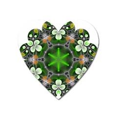 Green Flower In Kaleidoscope Heart Magnet