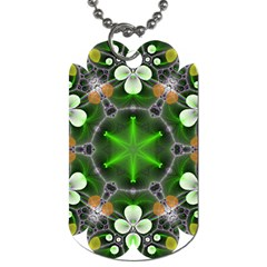 Green Flower In Kaleidoscope Dog Tag (One Side)