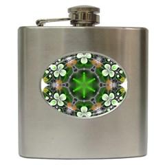 Green Flower In Kaleidoscope Hip Flask (6 Oz)