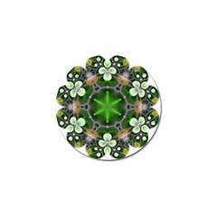 Green Flower In Kaleidoscope Golf Ball Marker