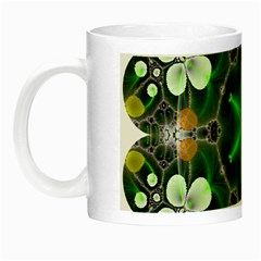 Green Flower In Kaleidoscope Night Luminous Mugs