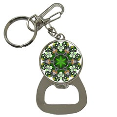 Green Flower In Kaleidoscope Button Necklaces