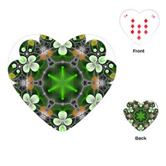 Green Flower In Kaleidoscope Playing Cards (heart)