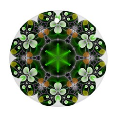 Green Flower In Kaleidoscope Round Ornament (Two Sides)