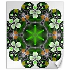 Green Flower In Kaleidoscope Canvas 8  X 10