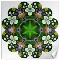 Green Flower In Kaleidoscope Canvas 12  X 12