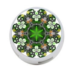Green Flower In Kaleidoscope 4-Port USB Hub (Two Sides)