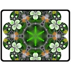 Green Flower In Kaleidoscope Fleece Blanket (large)