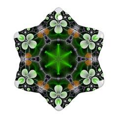 Green Flower In Kaleidoscope Snowflake Ornament (two Sides)