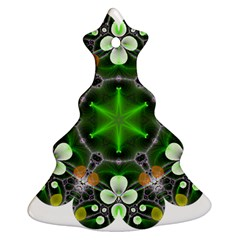 Green Flower In Kaleidoscope Christmas Tree Ornament (two Sides)