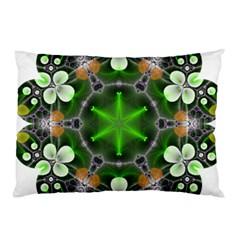 Green Flower In Kaleidoscope Pillow Case (Two Sides)