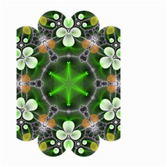 Green Flower In Kaleidoscope Small Garden Flag (two Sides)