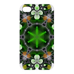 Green Flower In Kaleidoscope Apple iPhone 4/4S Premium Hardshell Case