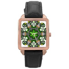 Green Flower In Kaleidoscope Rose Gold Leather Watch