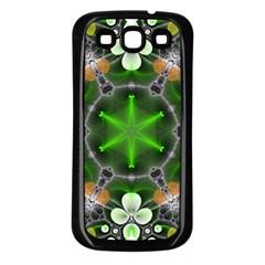 Green Flower In Kaleidoscope Samsung Galaxy S3 Back Case (Black)
